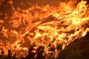 Flames scorch a hillside during the 'Holy Fire' in Lake Elsinore.