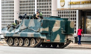 Tanks on the streets of Harare