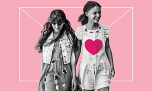 Photo montage of two young girls holding hands