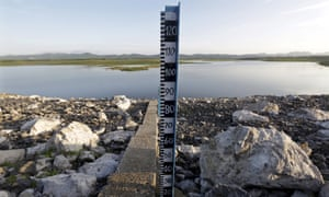 Measuring stick on a lake bed