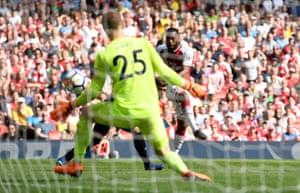 Lacazette scores the third for Arsenal.