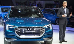 Audi's chief, Rupert Stadler presents, the Quattro electric concept car.