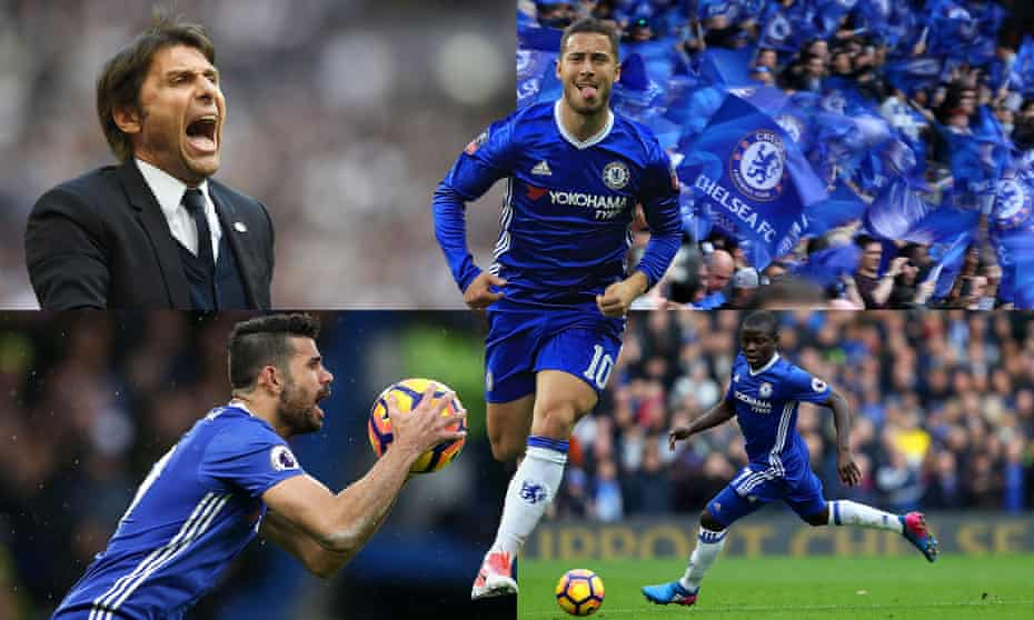 Clockwise from top left: Antonio Conte, Eden Hazard, N'Golo Kanté and Diego Costa have been pivotal to a season which has brought joy to Chelsea's fans.