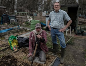 Pete Ward at the allotment with Ken Foley. Both voted to leave the EU