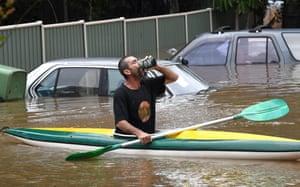 Mark 'Huey' Hewitt uses a canoe in Lismore