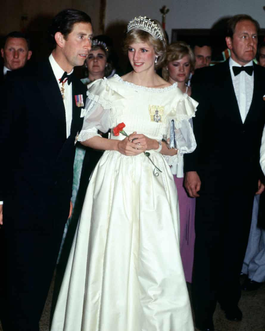 On an official tour of Canada with Prince Charles, Princess Diana wears a dress by Gina Fratini