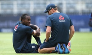 Jofra Archer chats with England physio Craig de Weyman before the fourth Test at the Wanderers. The bowler has not played since the first Test in December.