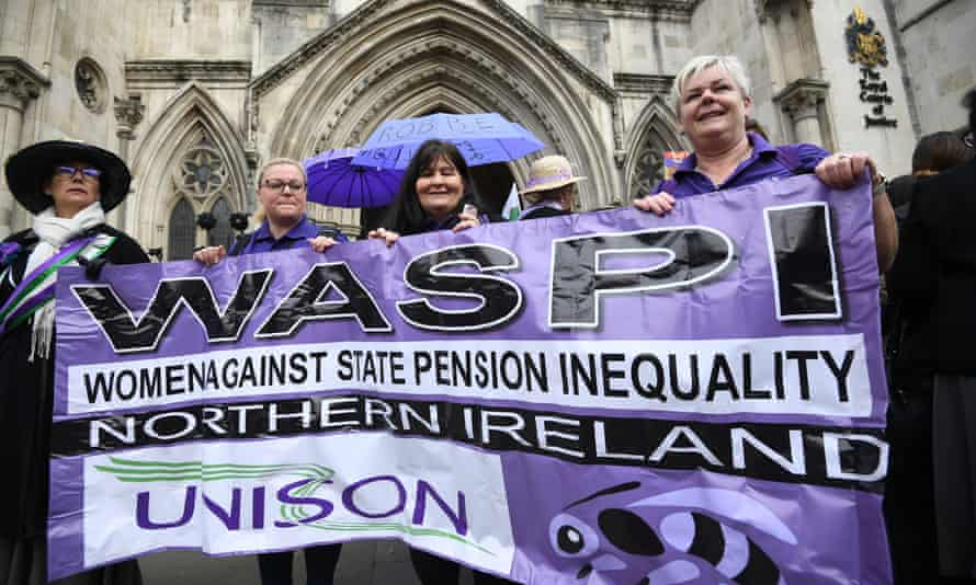 Waspi campaigners outside the Royal Courts of Justice in London.