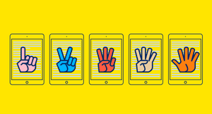 Yellow field with five illustrated hands , one finger up, two fingers up and so on