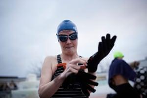 Gloves at the ready at the cold-water lido at Hillingdon