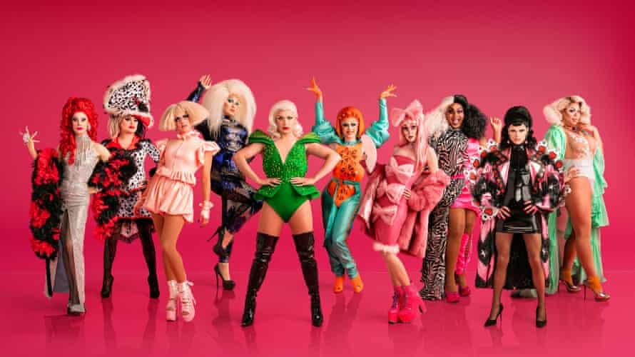 The stars of Ru Paul's Drag Race UK: Davina Di Campo, Bagga Chipz, Crystal, The Vivienne, Cheryl Hole, Blu Hydrangea, Scaredy Kat, Vinegar Strokes, Gothy Ken Doll, Sum Ting Wong.