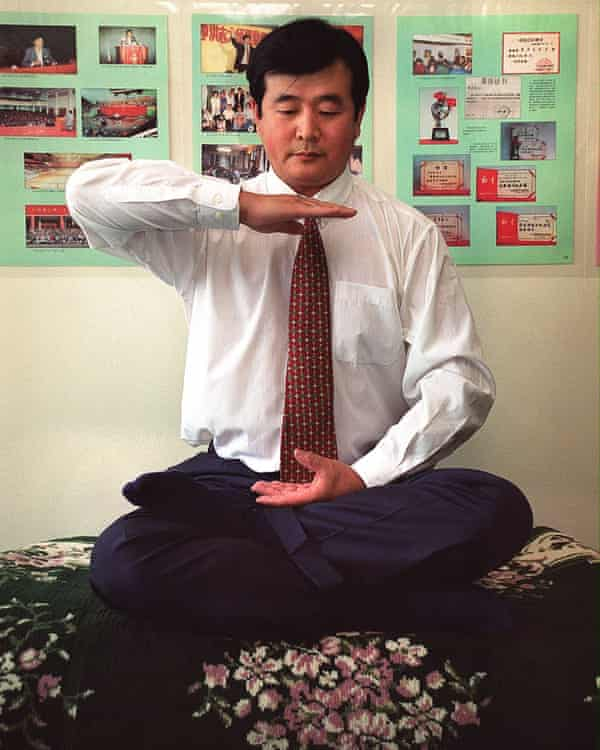 Li Hongzhi, the leader of Falun Gong, in New York in 1999.