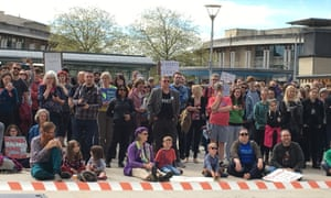 Crowds listening in on speeches at the Bristol March for Science