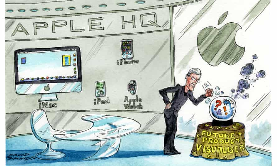 Cartoon of Apple's Tim Cook with a crystal ball