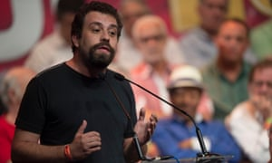 Guilherme Boulos speaks during a meeting in support of former Brazilian president Luiz Inácio Lula da Silva, at Oi Casa Grande Theater in Rio de Janeiro on 16 January.