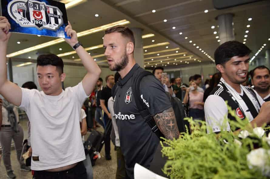 Besiktas's Alexander Milosevic arrives at Guangzhou International Airport