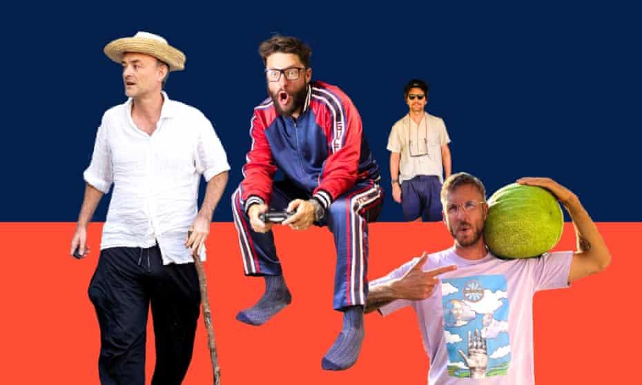Wearing it well: (from left) Dominic Cummings, DJ Roger Goode, Adam Scott and Calvin Harris.