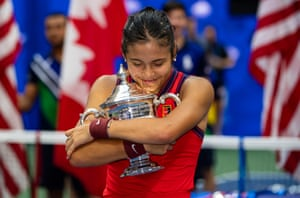 Raducanu celebrates with the trophy after her remarkable triumph in the final of the 2021 US Open