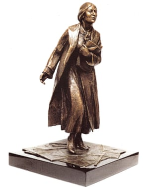 A bronze model of the statue of Sylvia Pankhurst by Ian Walters.