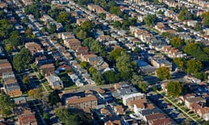 Cityscape of suburban housing in Chicago