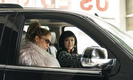 Jennifer Lopez and Constance Wu in Hustlers.