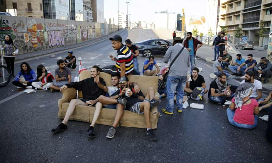 Protesters block a main highway in Beirut