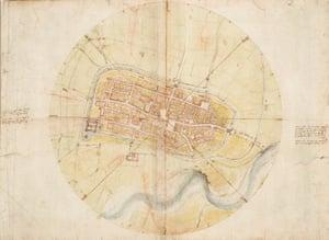 Leonardo's A map of Imola, 1502.