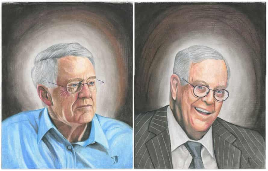 David and Charles Koch, heads of Koch Industries, drawn by prisoner Joseph Acker, who is serving 10 years. All sales from a book associated with the art project will be donated to Bernie Sanders' campaign.