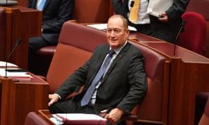 Katter's Australian party senator Fraser Anning during a Greens censure motion against him on Wednesday.