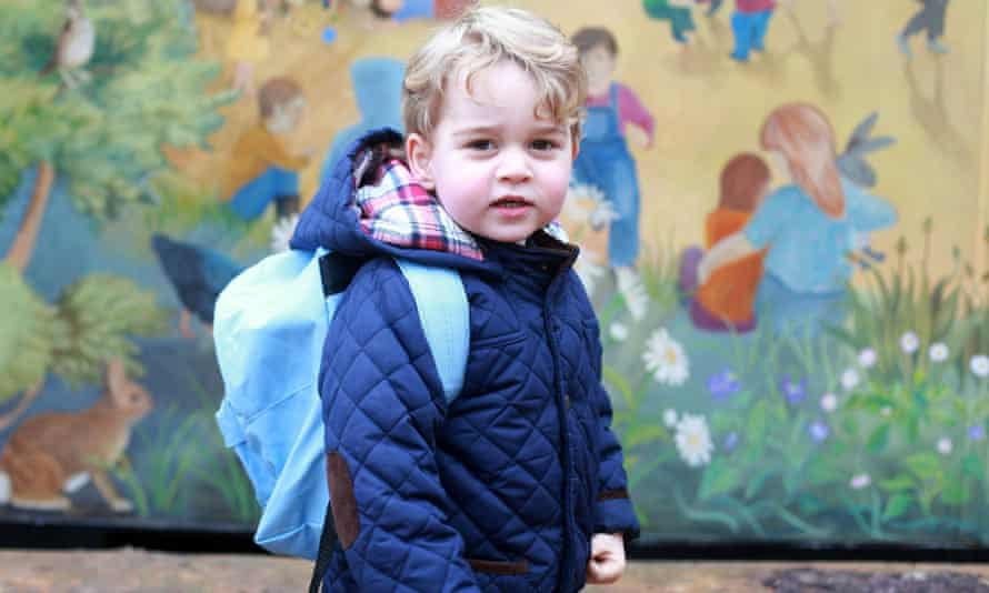 A picture of Prince George taken by his mother, the Duchess of Cambridge, on his first day of nursery.