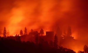 Flames from the Camp fire burn near Big Bend, California.