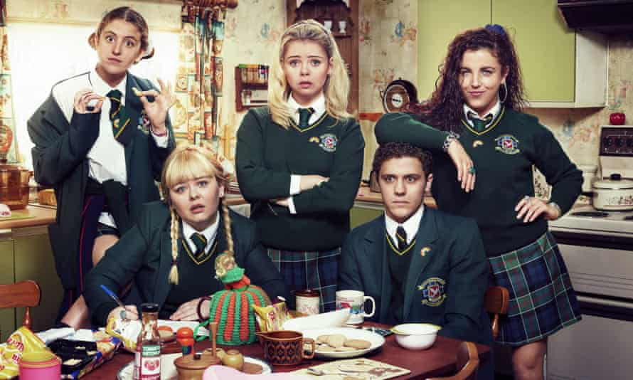 From left: Louisa Harland, Nicola Coughlan, Saoirse-Monica Jackson, Dylan Llewellyn and Jamie-Lee O'Donnell in a still from the TV series Derry Girls