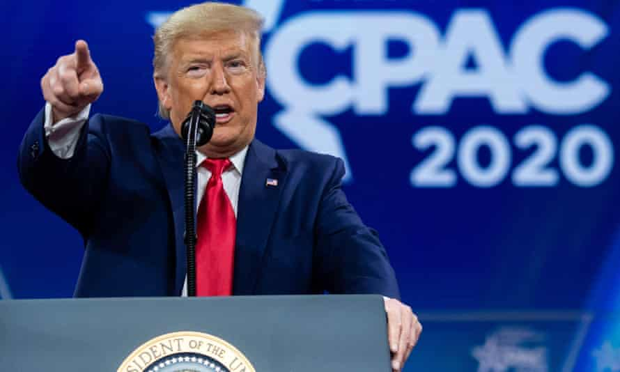 Donald Trump speaks at the 2020 Conservative Political Action Conference (CPAC) at National Harbor, Maryland.