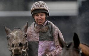 Mud splattered Jamie Moore and The Flying Sofa after they finished unplaced in the opening race