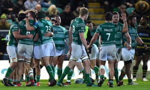 Newcastle celebrate Saturday's late try in their Premiership game at Northampton