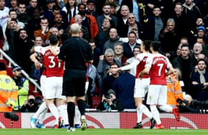 The banana is clearly visible in mid-air in this photo. It was thrown after Pierre-Emerick Aubameyang had given Arsenal a 1-0 lead.