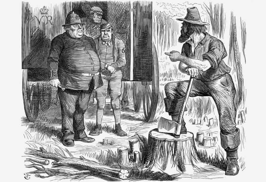 An 1864 Punch illustration showing police, convicts and colonists in Australia
