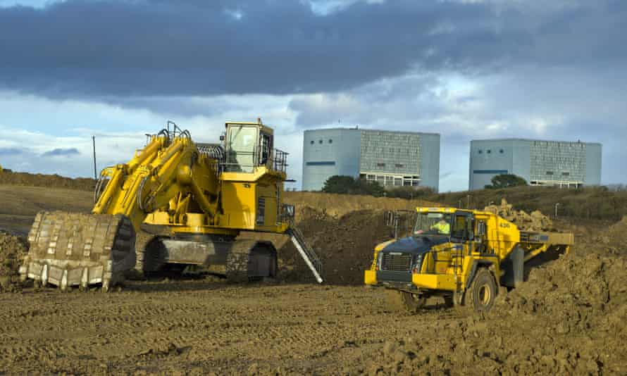 Earthworks in preparation for the construction of EDF energy's Hinkley Point C nuclear power station in Somerset, south-west England.