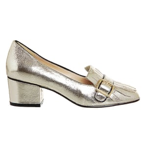 gold buckled heeled loafers Office