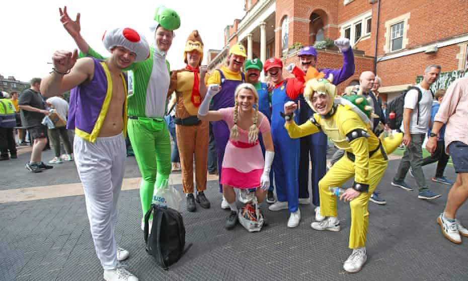 Revellers in fancy dress at the Oval.