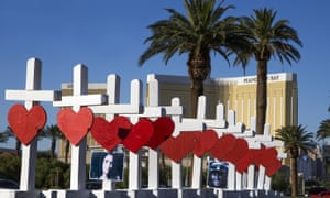 Crosses honouring the 58 victims of the mass shooting at the country music concert in Las Vegas.