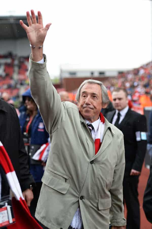 Gordon Banks waves to fans at Stoke City's Britannia Stadium, 2013.