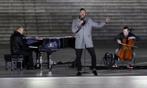 """The Piano Guys perform at a pre-Inaugural """"Make America Great Again! Welcome Celebration""""."""
