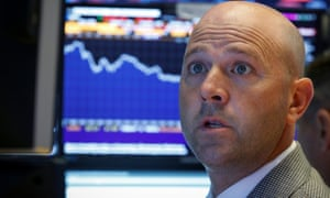 Trader Jay Woods at the New York Stock Exchange on Thursday as US shares slide
