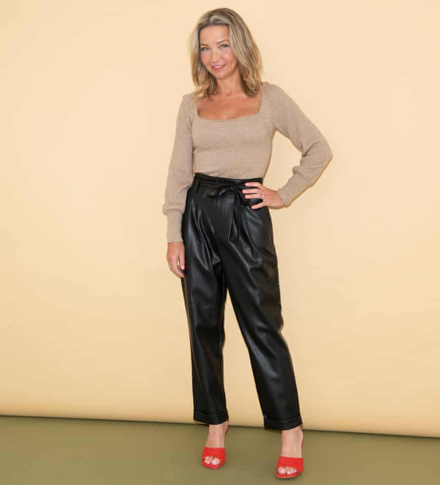 Jess Cartner-Morley in faux-leather trousers and top with square neckline