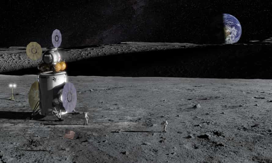 Artist's impression of lunar exploration at the south pole crater.