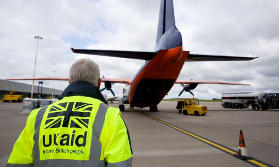 Aid cargo is loaded at East Midlands airport. In 2020 the Department for International Development merged with the Foreign Office.