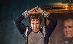 Benedict Cumberbatch performs during a preview of Hamlet at the Barbican in London