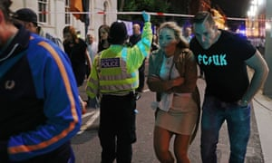 Members of the public are led away from the scene near London Bridge