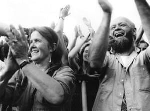 Jean and Michael Eavis cheer from the Pyramid Stage, 1992